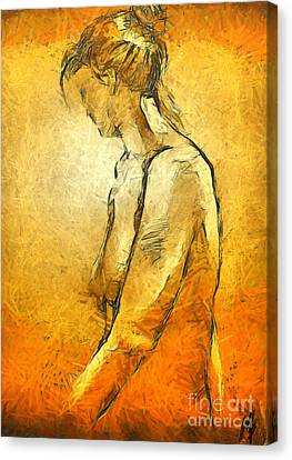 Canvas Print featuring the painting Nude Viii by Dragica  Micki Fortuna