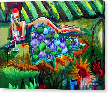 Nude With Grapes Canvas Print