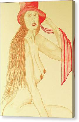 Nude With Red Hat Canvas Print by Rand Swift