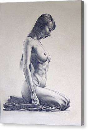Nude Woman Kneeling Drawn Figure Study  Canvas Print by Brent Schreiber