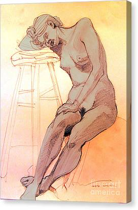 Canvas Print featuring the drawing Nude Woman Leaning On A Barstool by Greta Corens