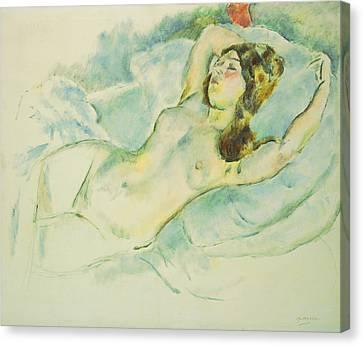 Nude Woman Reclining Canvas Print by Jules Pascin