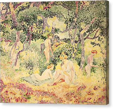 Nudes In A Wood, 1905 Canvas Print by Henri-Edmond Cross