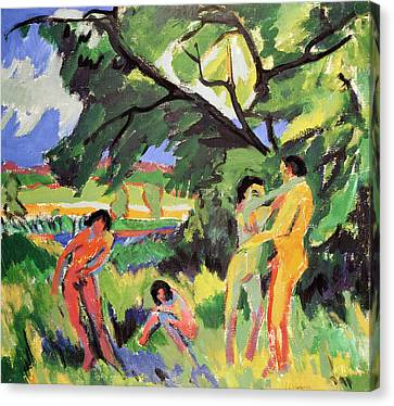 Bold Colors Canvas Print - Nudes Playing Under Tree by Ernst Ludwig Kirchner