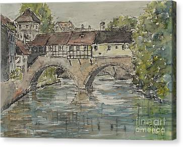 Canvas Print featuring the painting Nuernberg Bridge Of The Hangman by Alfred Motzer