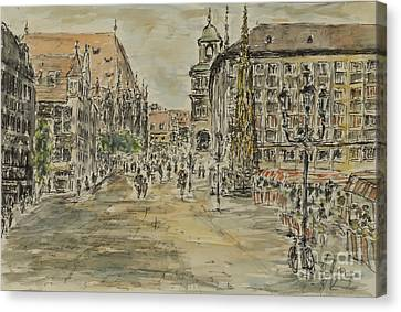 Canvas Print featuring the painting Nuernberg Central Market Place With Gothic Fountain by Alfred Motzer
