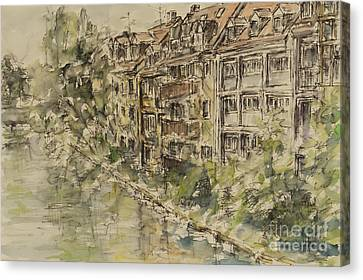 Canvas Print featuring the painting Nuernberg Southern Riverside Of Rednitz by Alfred Motzer