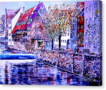 Canvas Print featuring the painting Nuernberg Walkby The Riverside by Alfred Motzer