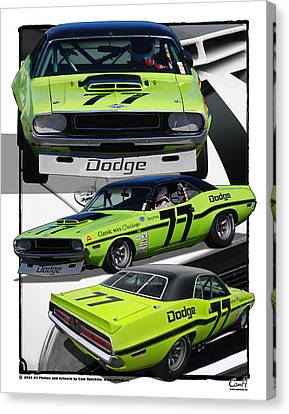 Number 77 Dodge Challenger Trans Am Racecar Canvas Print by Cam Hutchins