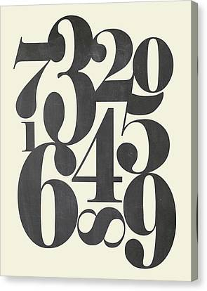 Numbers Cream Canvas Print by Amy Cummings