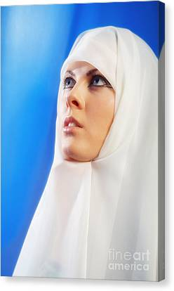 Nun Praying Canvas Print