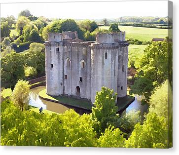 Nunney Castle Painting Canvas Print by Ron Harpham