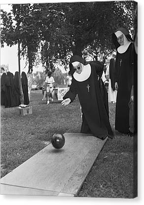 Man Looking Down Canvas Print - Nuns Bowling by Underwood Archives