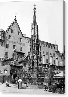 Gothic Germany Canvas Print - Nuremberg Beautiful Fountain by Underwood Archives
