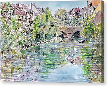 Canvas Print featuring the painting Nuremberg River Pegnitz Watching Charles Bridge by Alfred Motzer
