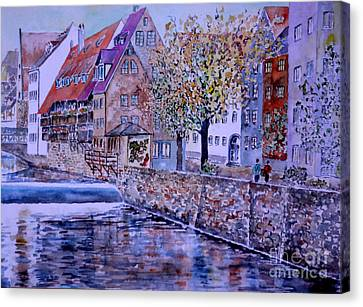 Canvas Print featuring the painting Nuremberg Walk By The Riverside by Alfred Motzer
