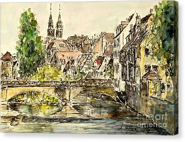 Canvas Print featuring the painting Nuremberg Watching St.laurence Cathedral by Alfred Motzer
