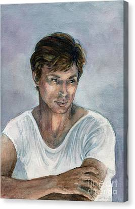 Canvas Print featuring the painting Nureyev by Lora Serra