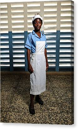 Nurse In Sierra Leone Canvas Print by Matthew Oldfield