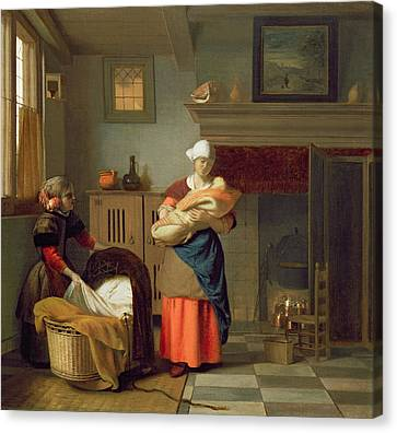 Nursemaid With Baby In An Interior And A Young Girl Preparing The Cradle Canvas Print by Pieter de Hooch