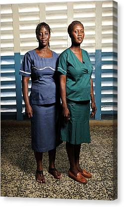 Nurses In Sierra Leone Canvas Print by Matthew Oldfield