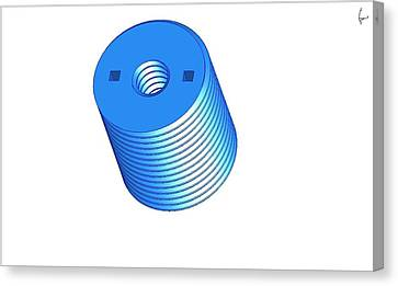Nut 3d -- Mechanical Brick Canvas Print by Pop Horea-Vasile