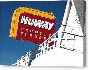 Hamburger Canvas Print - Nuway Sign by Fred Lassmann