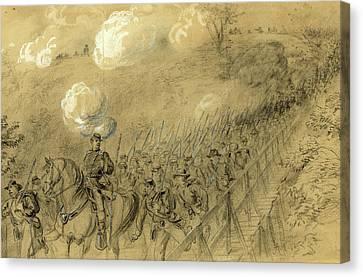 N.y. 14th Heavy Artillery Crossing Chesterfield Bridge Canvas Print by Quint Lox