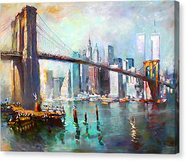 Times Square Canvas Print - Ny City Brooklyn Bridge II by Ylli Haruni