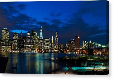 Ny Skyline From Brooklyn Heights Promenade Canvas Print by Mitchell R Grosky