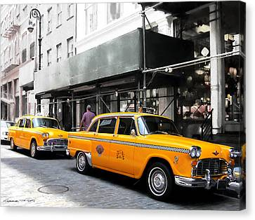 Ny Streets - Yellow Cabs 1 Canvas Print by Gabriel T Toro