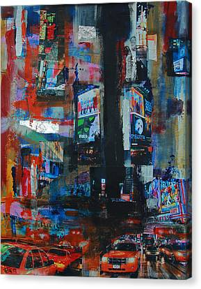 Ny Times Square Night 2 Canvas Print