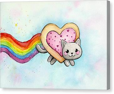 Nyan Cat Valentine Heart Canvas Print by Olga Shvartsur