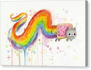 Nyan Cat Watercolor Canvas Print by Olga Shvartsur