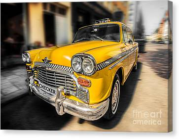 Nyc - Checker -yellow Canvas Print by Hannes Cmarits