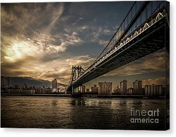 Nyc - Manhatten Bridge - Hdr- Sun Canvas Print by Hannes Cmarits