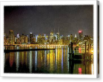 Nyc At Night Faux Oil Canvas Print