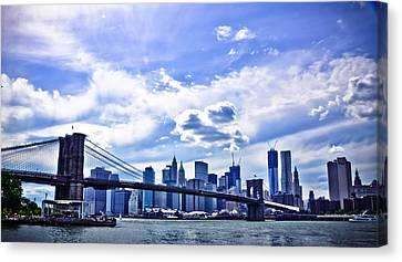Nyc Brooklyn Bridge City Canvas Print by Alex Pochinok