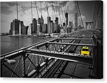 Nyc Brooklyn Bridge View Canvas Print by Melanie Viola
