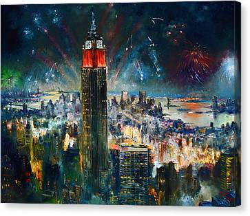 Nyc In Fourth Of July Independence Day Canvas Print