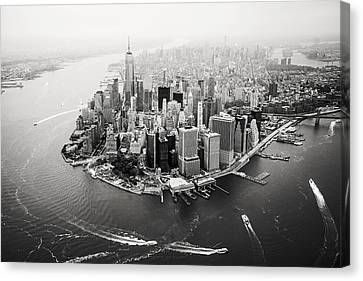 Nyc Manhattan Aerial Canvas Print by Nina Papiorek