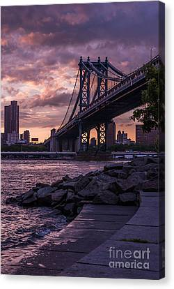 Nyc- Manhatten Bridge At Night Canvas Print by Hannes Cmarits