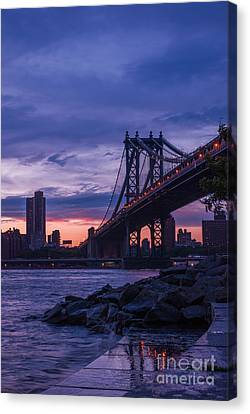 Nyc - Manhatten Bridge At Night II Canvas Print by Hannes Cmarits