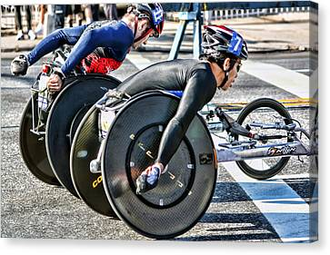 Nyc Marathon Wheelchair Racers Canvas Print by Terry Cork