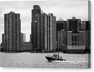 Nyc Police River Boat Going Past New Jersey Nj Shoreline  Canvas Print by Joe Fox