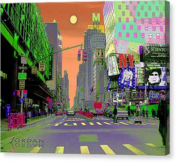 Nyc Port Authority And 42nd Canvas Print by David Jordan