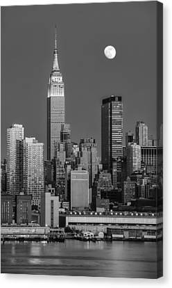 Nyc Skyline Blue Hour Bw Canvas Print by Susan Candelario