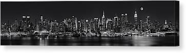Nyc Skyline Full Moon Panorama Bw Canvas Print by Susan Candelario