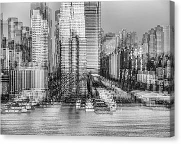 Nyc Skyline Shapes Bw Canvas Print by Susan Candelario