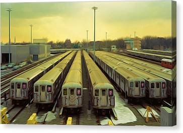 Nyc Subway Cars Canvas Print by Lanjee Chee